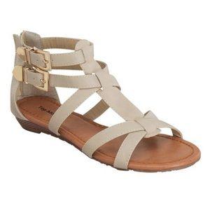Top Moda Beige Double Buckle Gladiator Sandals 8